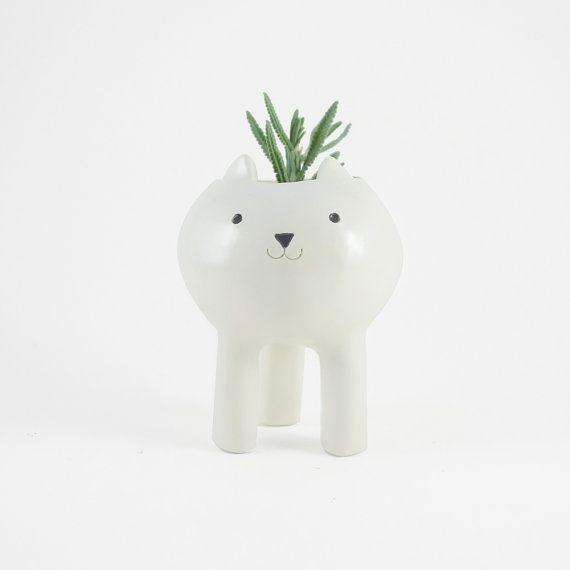 Small White Cat Planter Ceramic Plant Pot by MinkyMooCeramics