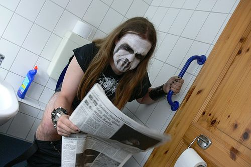 Black metal on the toilet