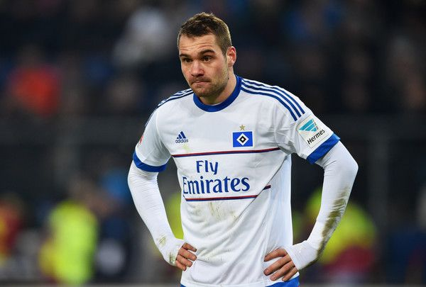 Pierre-Michel Lasogga of SV Hamburg looks on during the Bundesliga match between Hamburger SV and FC Bayern Muenchen at Volksparkstadion on January 22, 2016 in Hamburg, Germany.