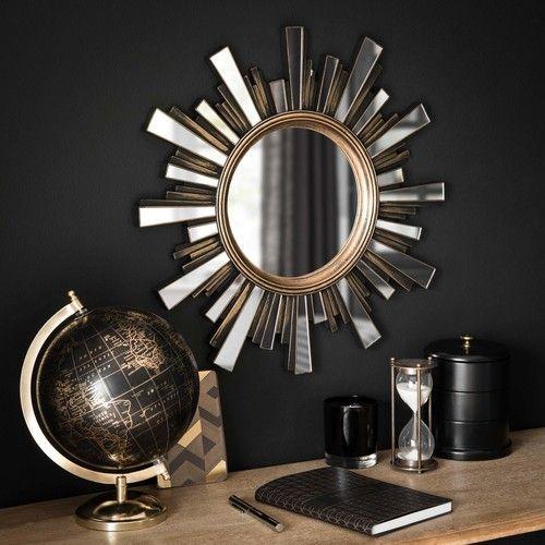 CHIARA - Goldfarbener Spiegel SONNE in gealterter Optik D48