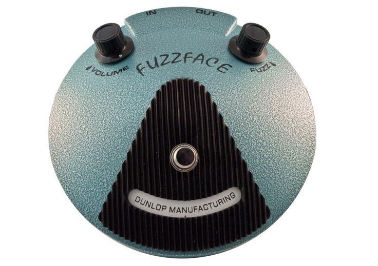 """28. <strong>DALLAS ARBITER FUZZ FACE</strong> <br> The Fuzz Face became a legend mainly due to the prominent role it played in shaping Jimi Hendrix's distorted guitar tone. Originally built between 1966 and 1975, the Fuzz Face was resurrected by Jim Dunlop in 1993. Dunlop's Jimi Hendrix Fuzz face faithfully reproduces Jimi's 1969 silicon-transistor version of the pedal. <strong>HEAR IT</strong>: Jimi Hendrix, """"Foxey Lady"""""""