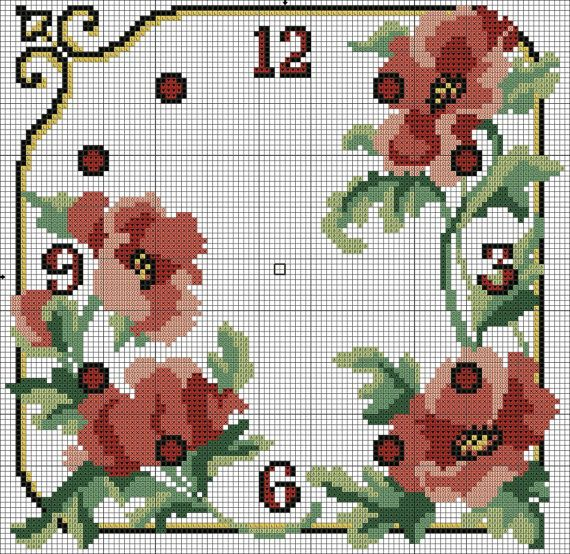 16 Beautiful vintage cross stitch clock face DIGITAL by LuckyKorat, $3.99
