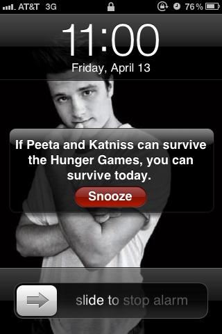 """"""" si Peeta et Katniss peuvent survivre aux Hunger Games, tu peux survivre aujourd'hui. """""""