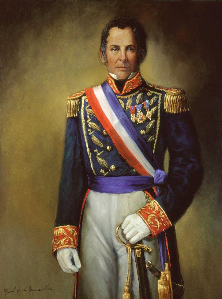 JOSÉ JOAQUÍN PRIETO (1786-1854). Político y militar chileno. Presidente de la República de Chile entre 1831 y 1836, siendo reelegido para el periodo inmediatamente siguiente entre 1836 y 1841. Manuel Ramón Espinosa Salas.
