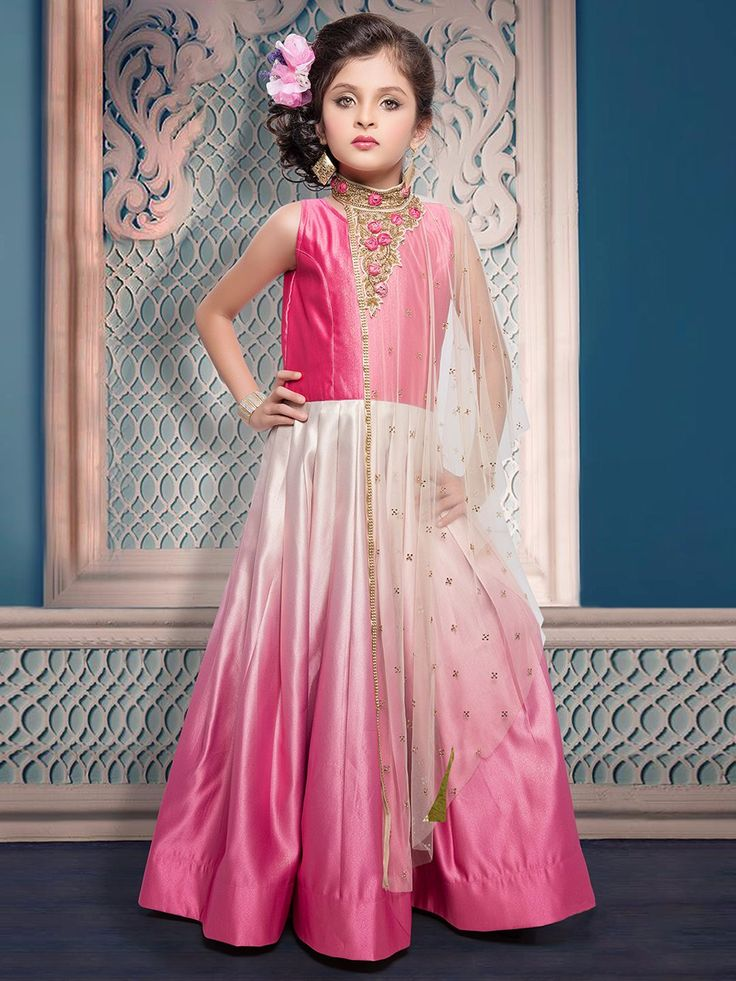 Shaded Pink White Silk Gown, girls gown, gowns for small girls