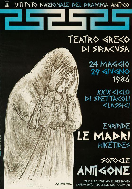 Istituto Nazionale del Dramma Antico 1986 Teatro Greco di Siracusa XXIX Ciclo di Spettacoli Classici - Poster - Artist: G. Mazzullo, Design: D. Gonzales