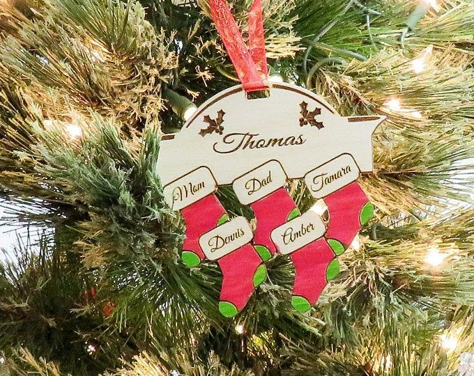 Hand Stamped Snowflake Ornament Family Christmas Christmas 2018. Christmas Spirit Family Names Holiday Ornament