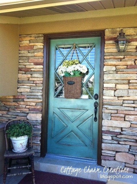 I Love That Junk: Striking aqua front door - Cottage Charm Creations