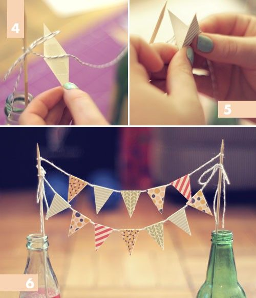 From apairofpears.com ~ DIY bunting. This is so cute and so easy. You can add this to the top of a cake or between two bottles over a dessert.  Print out some patterned paper and cut into a long diamond shape.  Add some glue and fold in the center over a piece of twine or thin ribbon. Tie to two wood sticks (super cheap at craft stores) and stick into a cake or vintage bottles.