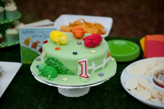 My version of a Where is the Green Sheep cake for my son's first birthday