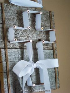 Wood And Ribbon Cross Craft - @Amy Lyons Cornell  think these are really cute!