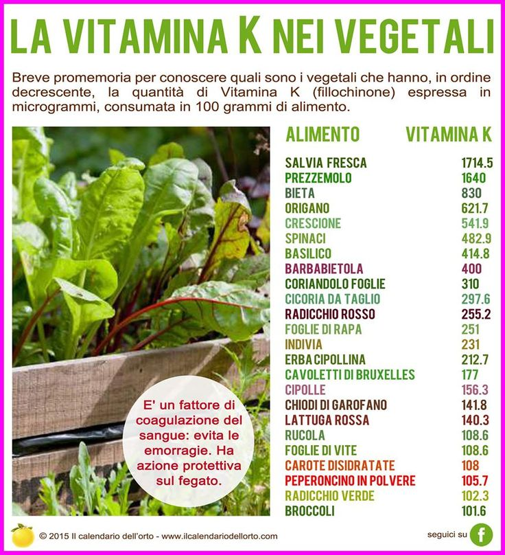La vitamina K (fillochinone) nei vegetali