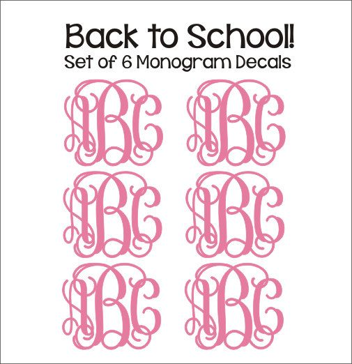 Set of Six Monogram Decals Small Vinyl Decals Monogram Decals Personalized Preppy Back to School Notebook Binder Folder Decals on Etsy, $11.00