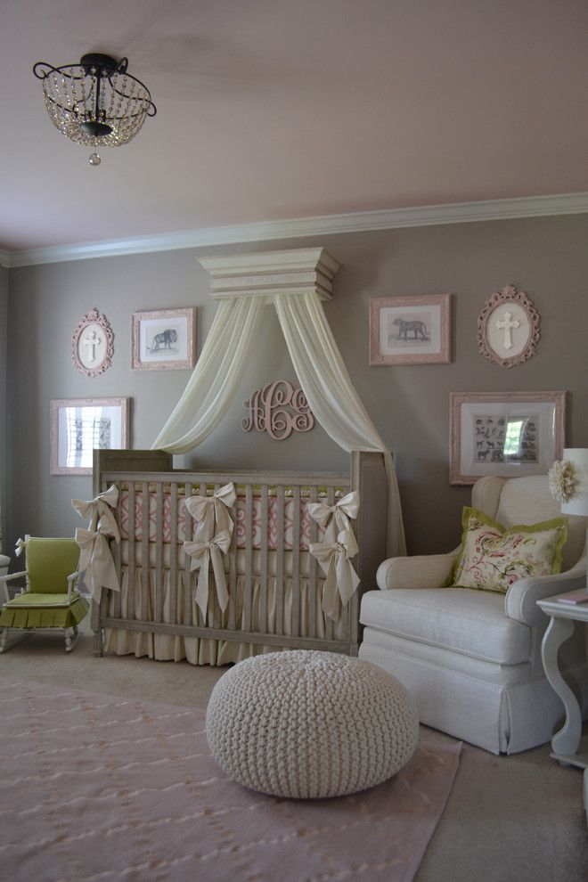 Baroque Swivel Glider In Nursery Traditional With Pink Paint Next To Flush Mount Light Alongside Benjamin Moore Gray Cashmere 2138 60 An