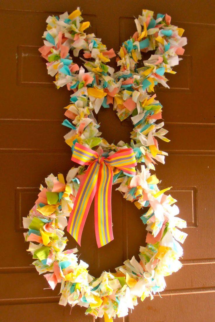 Scrap Fabric Easter Bunny Wreath