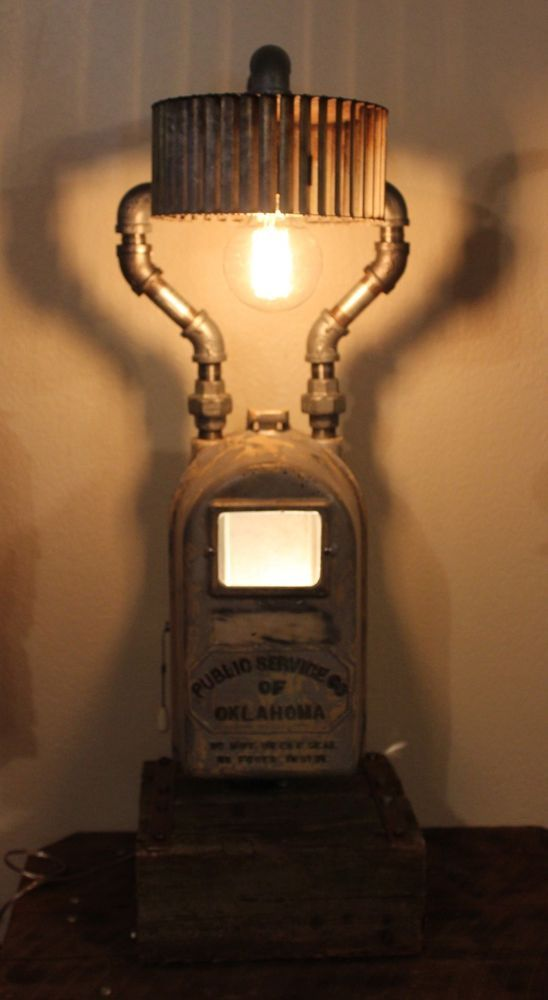 Industrial Steampunk Lamp Salvage PSO Meter Box Light Reclaimed Wood Cooper