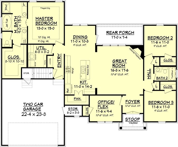 4Beds 2 Baths 1842 Sq/Ft Plan #430-89 Floor Plan - Main Floor Plan - Houseplans.com