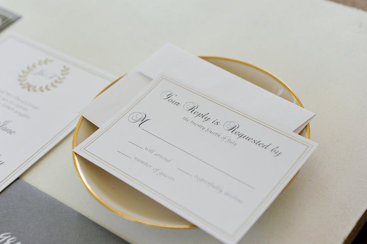 Formal gold reply card by rachelkathryndesigns.com