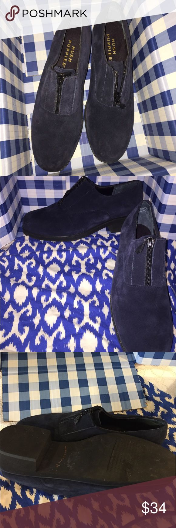 Blue Suede Shoes Hush Puppies Shoes in Blue Suede beautiful with a puppy on the zipper so cute! Great Brand slide on and zip up.  Sz. 8 1/2 Like New!!!! Black soft soles extra comfort. They are like a bootie. Hush Puppies Shoes Ankle Boots & Booties