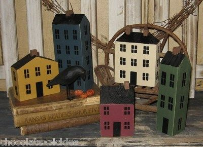 Wood Salt Box House Set. how hard could these be to make?