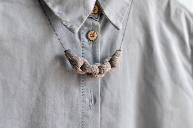Knitted Chain Link Necklace - Grey £24.00