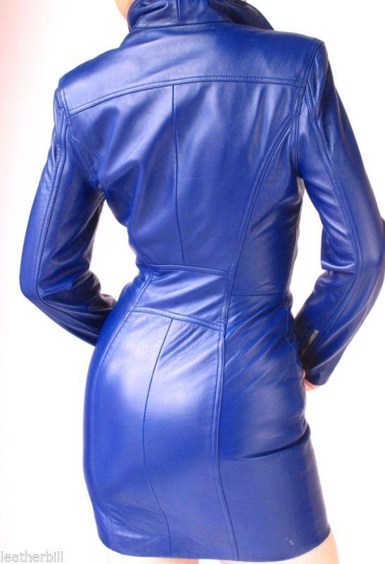 Midnight blue leather dress