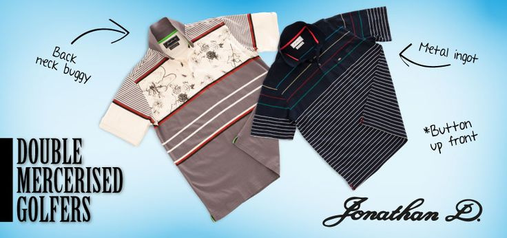 Jonathan D Double Mercerised Golfers A subtle fusion of comfort and class, the Jonathan D men's mercerised golfer is made from a comfortable cotton blend finished with stripes and a chest pocket with branded detailing.