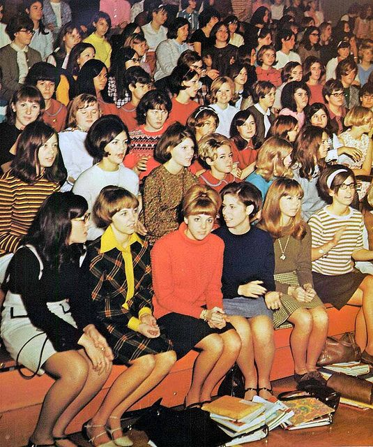 1968--school assembly- look at all those skirts.  No jeans.  Clean and combed hair.  This was everyday look.  This is how you dressed for school. Baby boomers time.