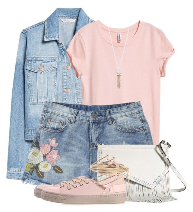 """""""Summer Double Denim"""" by brendariley-1 ❤ liked on Polyvore featuring MANGO, H&M, Kendall + Kylie, Diesel, Michael Kors, fringe, doubledenim and summerfashion"""