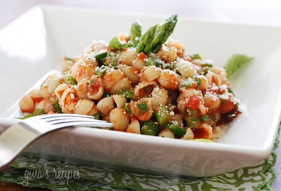 Baby Pasta Shells with Asparagus and Marinara Sauce   Skinnytaste