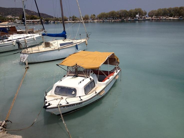 methana, boat in port