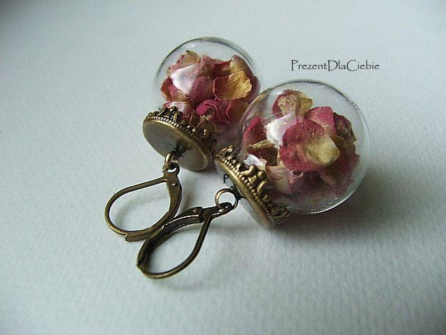 róże szklane kule kolczyki retro vintage boho - nailart2010 - Biżuteria ze szkła