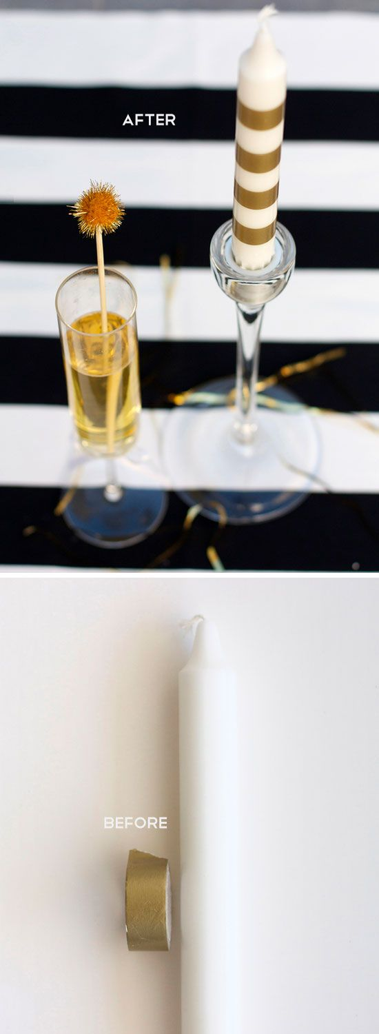 Make Fancy Candles With Gold Tape | 18 Life Hacks Every Girl Should Know | Easy DIY Projects for the Home