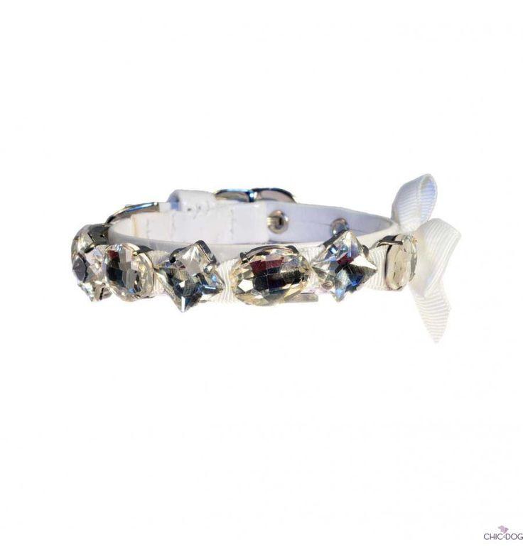 Candy Collar white #dog #collar with gems | Collarino per cani in eco pelle, bianco con gemme prezione #Chic4dog