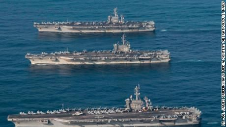 Three US Navy aircraft carriers put on show of strength in the Western Pacific Ocean over the weekend, the first time three of the 100,000-ton behemoths have sailed together in a decade.