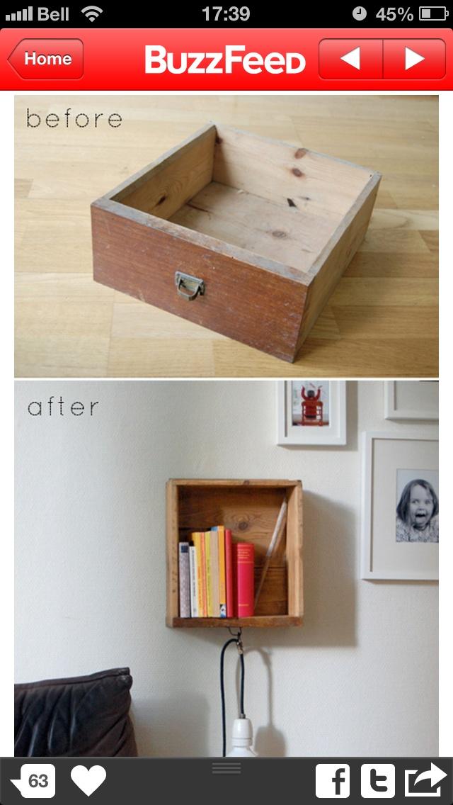 Bedside shelf from old drawer