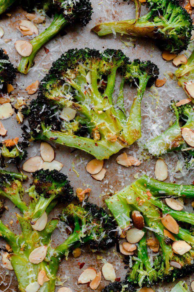 Simple roasted broccoli with toasted almonds, lemon, and pecorino cheese.