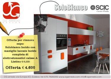 Offerta per rinnovo expo:cucina Scic emporio modello Solobianco lucido con maniglia laccata lucida, completa di elettrodomestici classe A