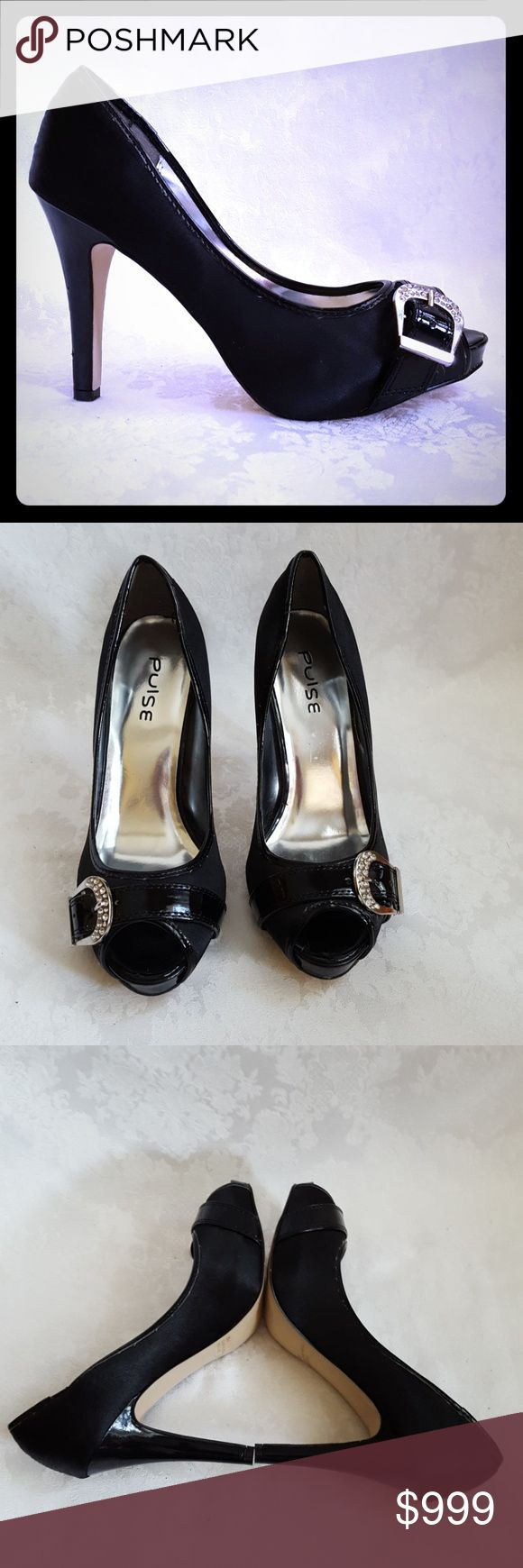 "🌺DISC SHIP🌺Black Silky & Patent Peep Toe  Heels Check out my other listings - 100's of 👠shoes👠, 👢boots👢 and 👜bags👜. Bundle 2 or more and save money! 💲💵💲  Like New!! Pulse black silky & patent peep toe shoes with 4 1/2"" patent heel. Rhinestone sparkle and bling decorative buckle.   Excellent condition! Smoke free and pet free home. Pulse Shoes Heels"