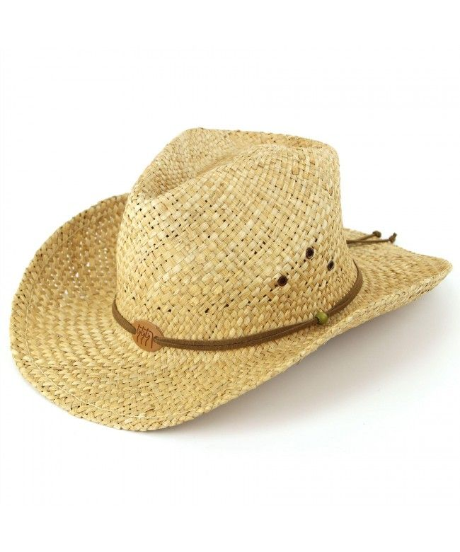 Hawkins Straw cowboy hat with a leather band detail and three horses badge - Natural (One size)