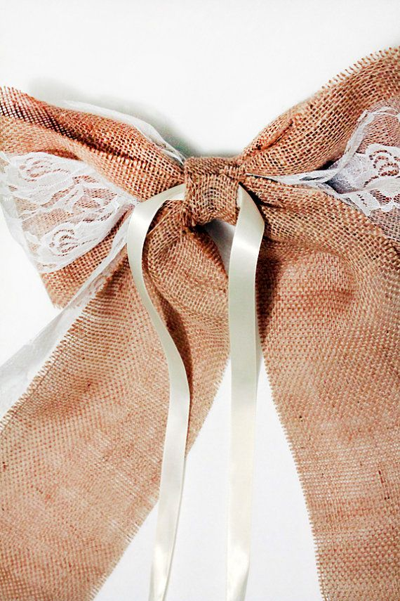Burlap and Lace Pew Bows