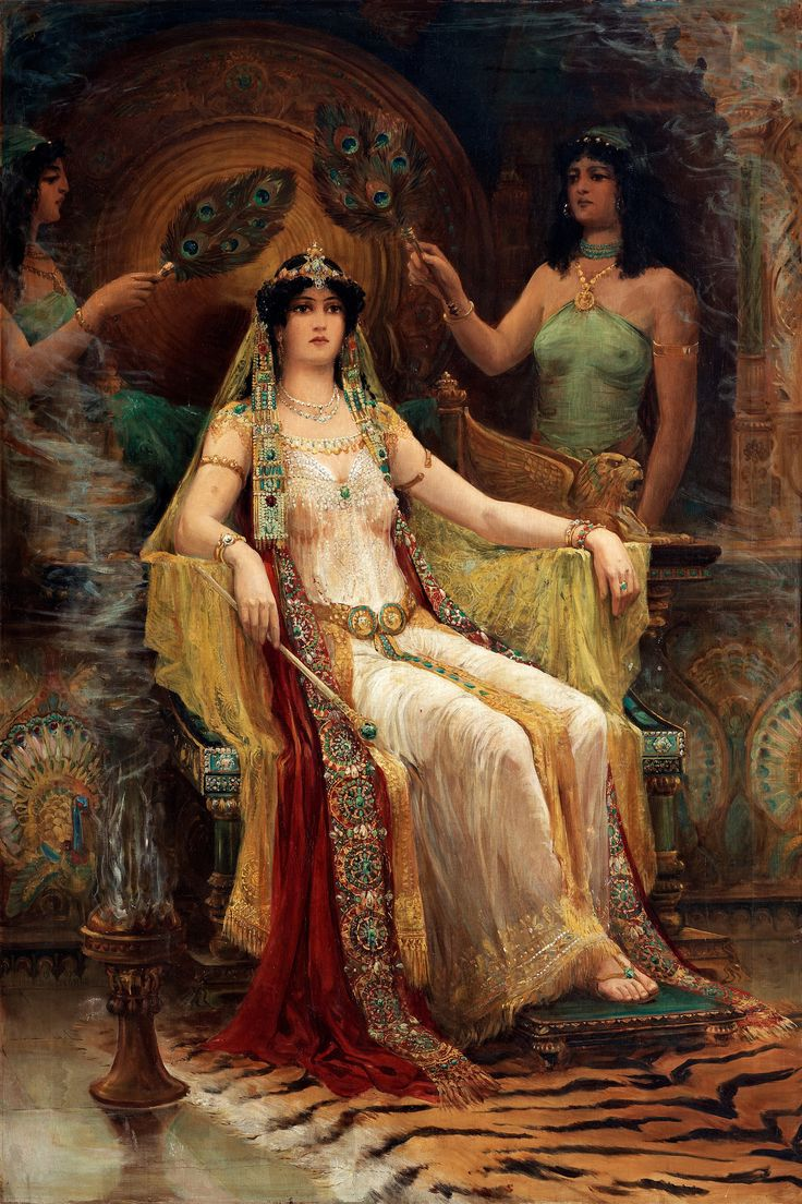 I love seeing depictions of Sheba... though she clearly wasn't white!  'Queen of Sheba' by Edward Slocombe. (1907).  #KingSolomonsWives #ThrillerSeries #HollyMcDowell