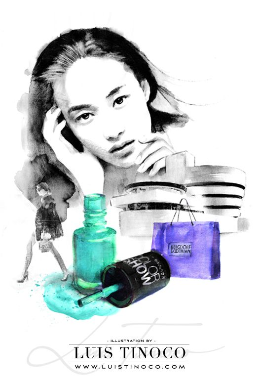 "MAYBELLINE NYC GUIDE 2014 ""BCKSTG"" Shu-Pei Qin Portrait ILLUSTRATION by LUIS TINOCO http://www.luistinoco.com/"
