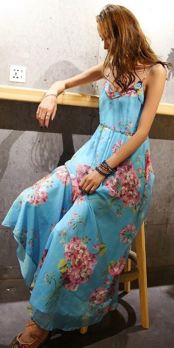 Liebo V-Neck Blue Floral Chiffon Dress #bohointernal