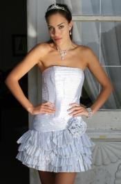 Shimmering #Silver#Party Dress with Flower