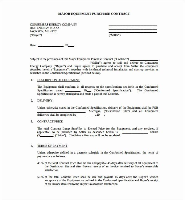 Equipment Purchase Agreement Template Lovely 7 Equipment Purchase Agreement Templates Contract Template Purchase Agreement Web Design Contract