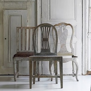 Beautiful trio of antique Swedish chairs.