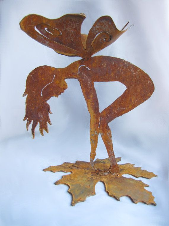 Rusty Garden Fairy on Leaf Bottoms Up Recycled by GeminiDragonfly, $48.00