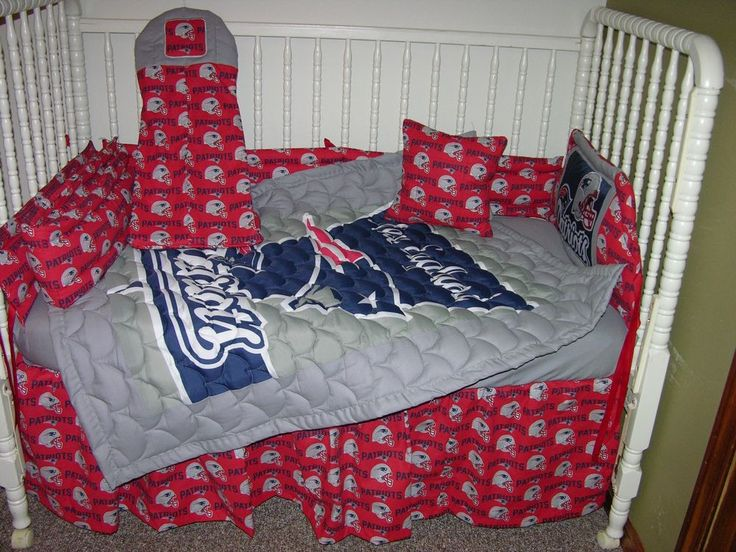 Crib nursery bedding set made w new england patriots for Boy nursery fabric