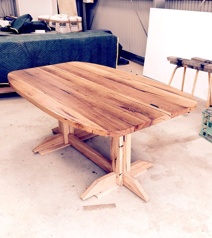 Customised Rincon dining table design. Curved table top and centralised legs to maximise space for extra guests. Recycled Messmate timber with lots of character.  #bomboracustomfurniture #handmadefurniture #customdining table #furnituremelbourne